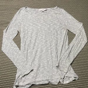 LOFT Striped Long Sleeve, M Black/White